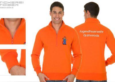 Sweatshirt mit Halb-Zip für Herren in orange